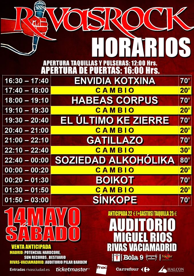 horarios rivas rock 2016